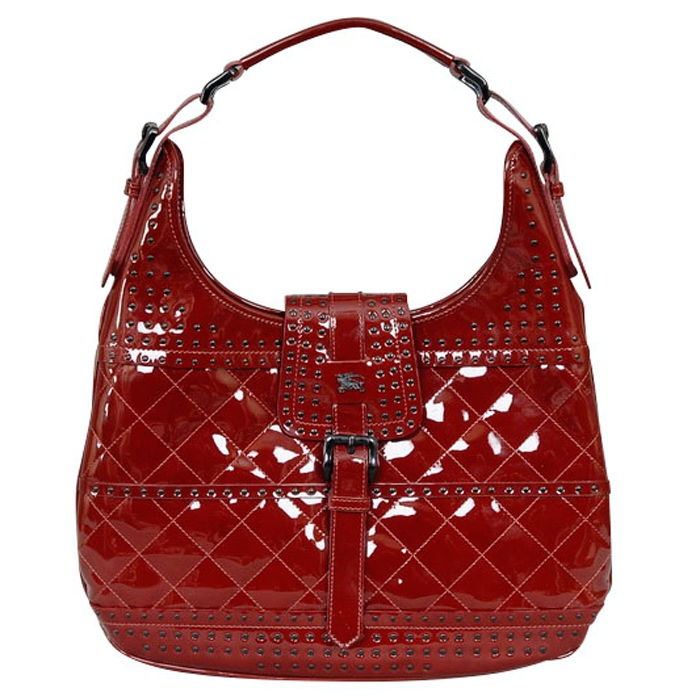 Burberry Patent Leather Studded Tote