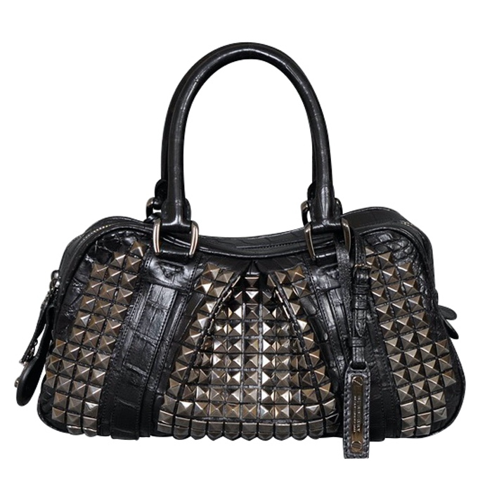 Burberry Studded Double Zip Satchel