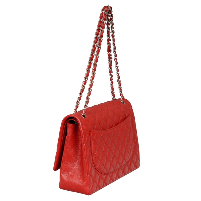 Chanel Red Caviar Leather Maxi Flap