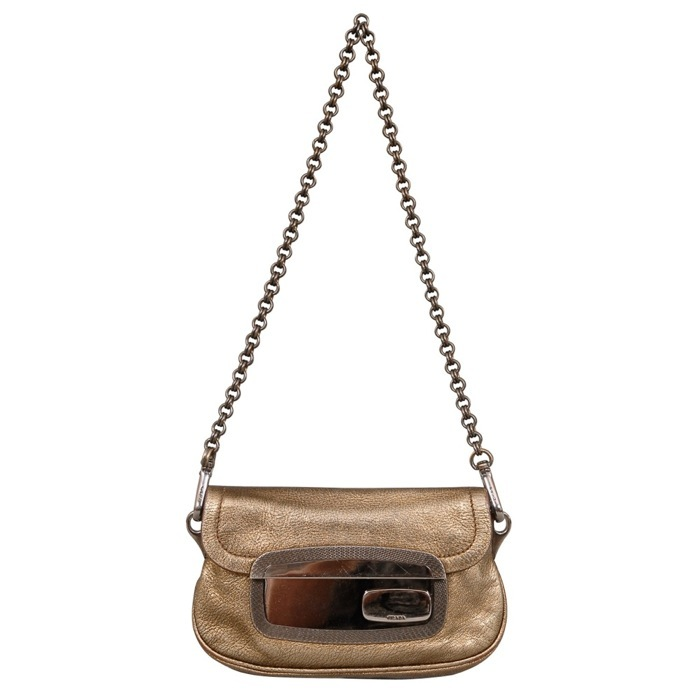 Prada Metallic Leather Shoulder Bag Clutch at Luxe Purses