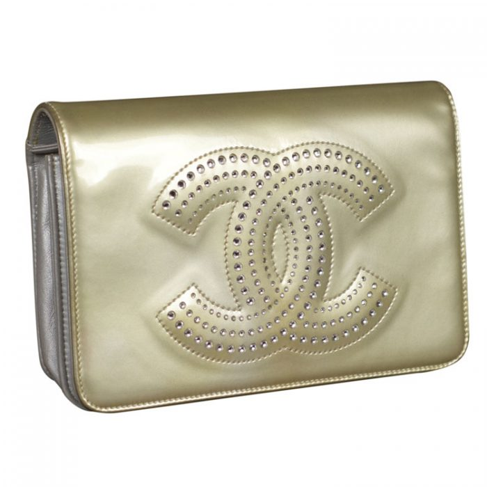 Chanel Crystal CC Strauss Wallet on a Chain at Luxe Purses