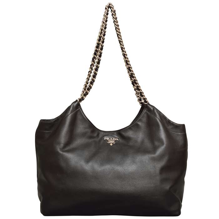 Prada Calf Leather Cabas Tote in Black