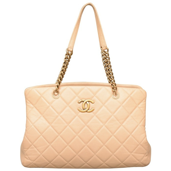Chanel CC Crown Tote in Beige on sale at Luxe Purses