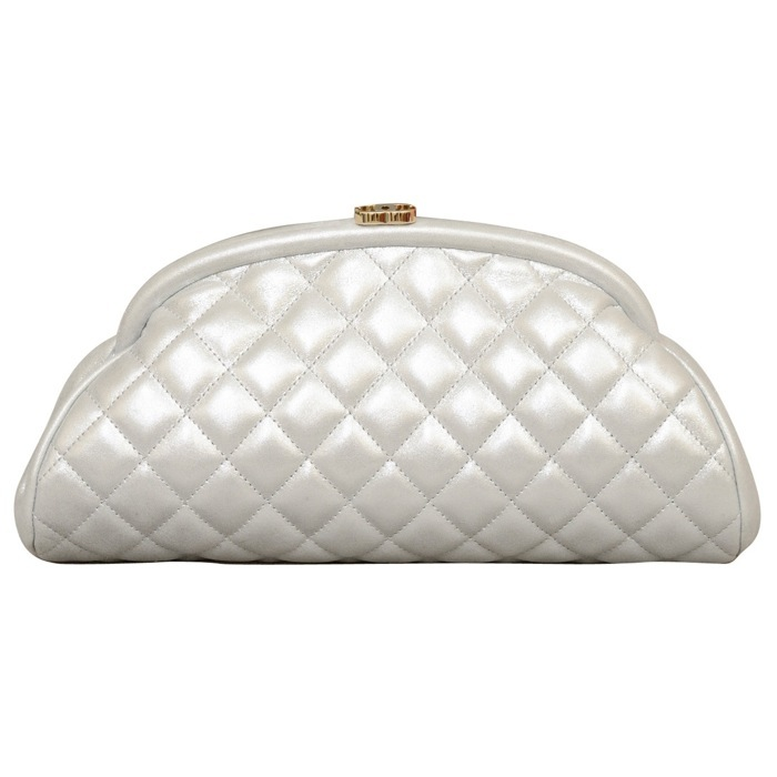 Chanel Timeless CC Quilted Leather Clutch in Silver