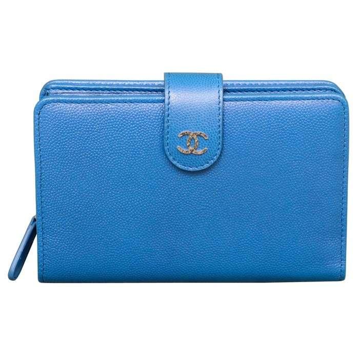 Chanel Large Zip Pocket Wallet in Dark Blue