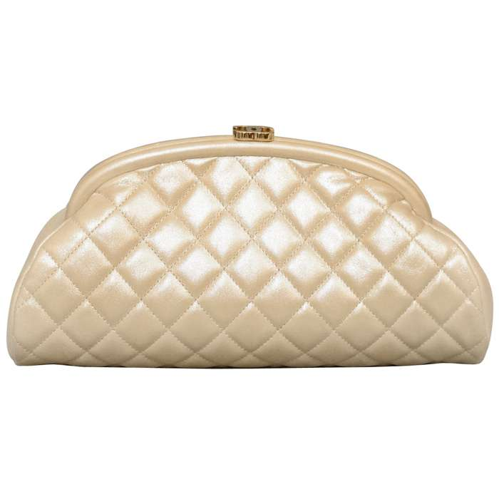 Chanel Timeless CC Quilted Leather Clutch in Light Gold