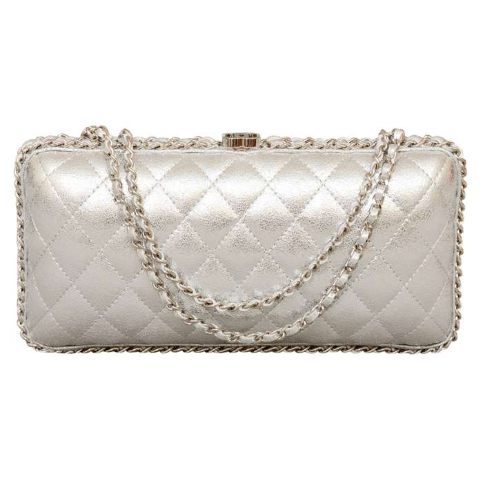 Chanel Chain Around Quilted Leather Clutch in Metallic Silver