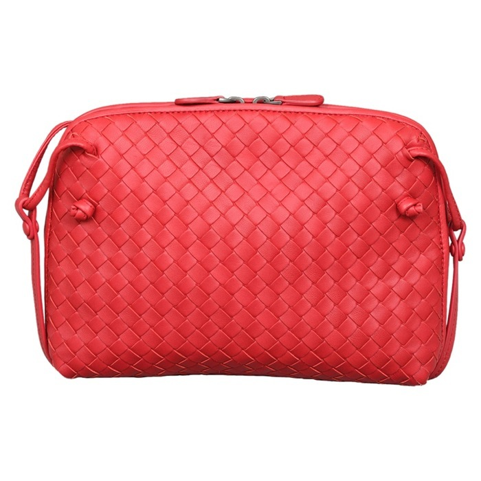 Bottega Veneta Intrecciato Nappa Crossbody Bag in Fraise