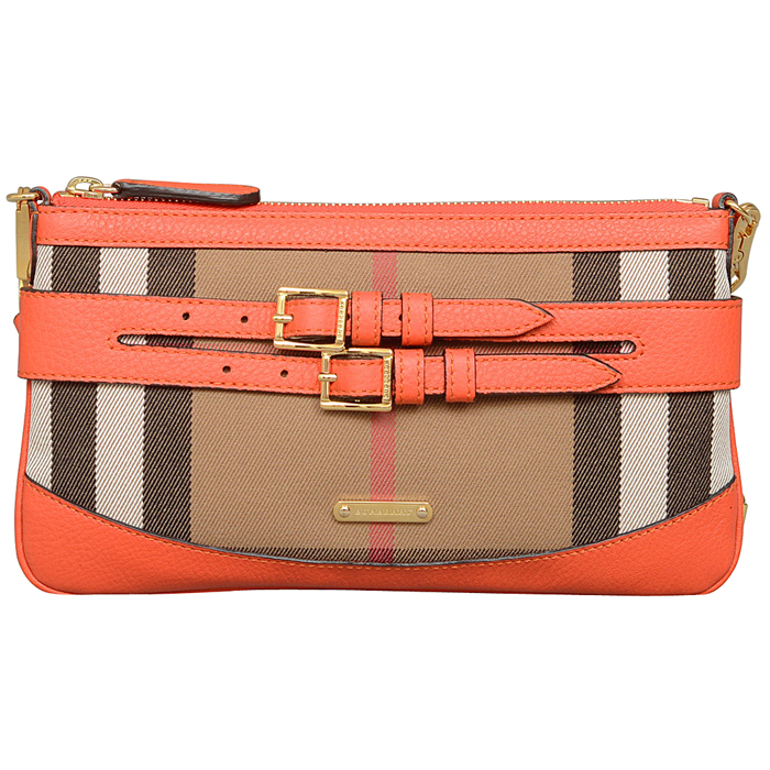 Burberry Bridle House Check Clutch in Orange Red
