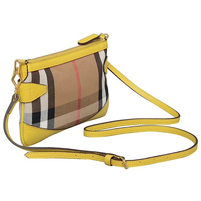 Burberry Bridle House Check Clutch in Gorse Yellow