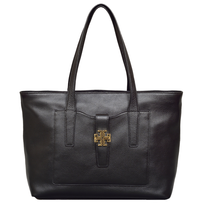 Tory Burch Plaque Tote in Black