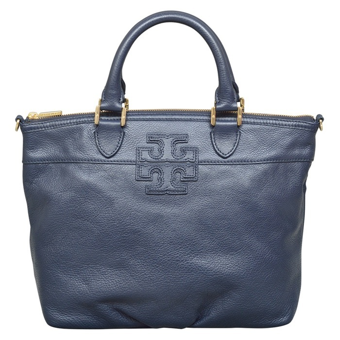 Tory Burch Stacked T Small Satchel in Navy