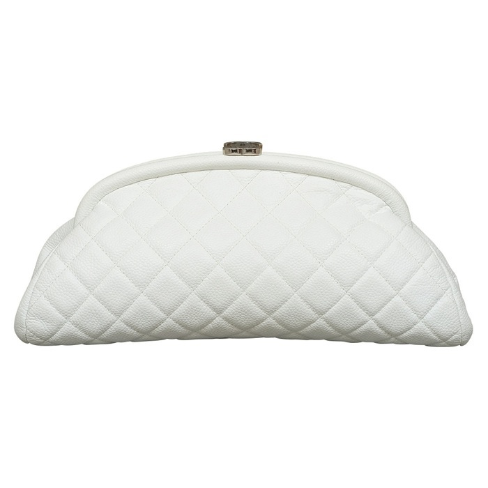 Chanel Timeless CC Quilted Caviar Clutch in White