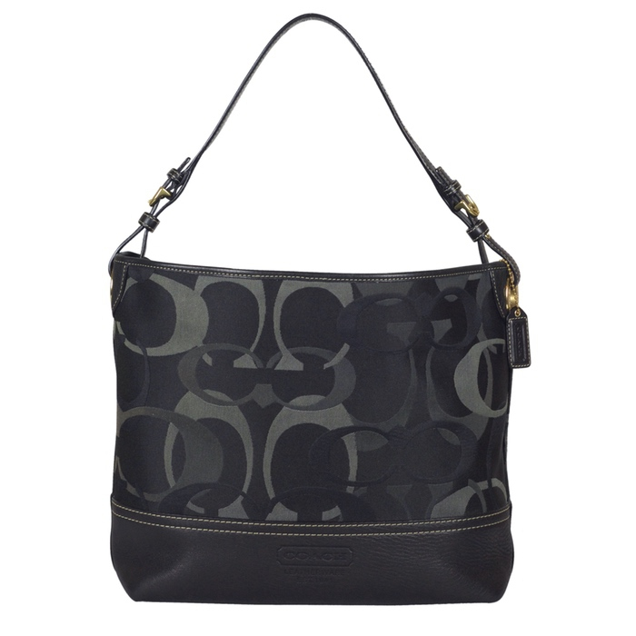 Coach Optic Signature Shoulder Tote in Black