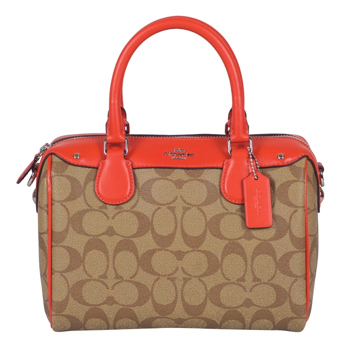 Coach Signature Mini Bennett Satchel in Khaki Orange Red