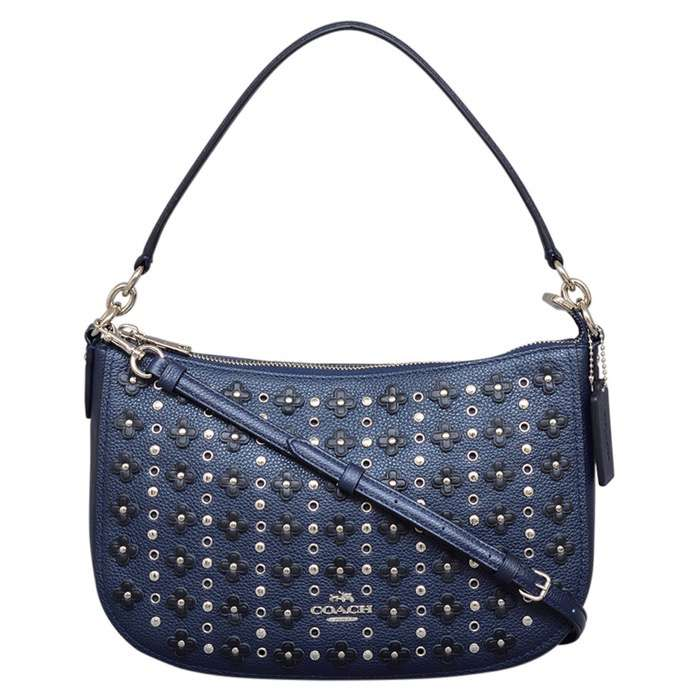 Coach Floral Rivets Chelsea Crossbody in Navy Black
