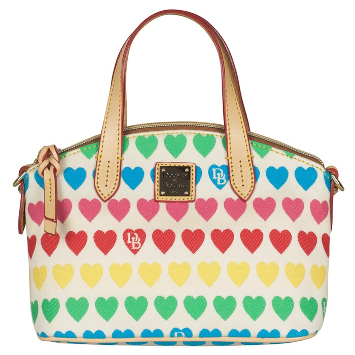 Dooney & Bourke Embroidered Heart Print Ruby Satchel