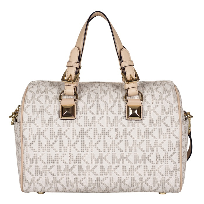 MICHAEL Michael Kors Medium Grayson Satchel in Vanilla