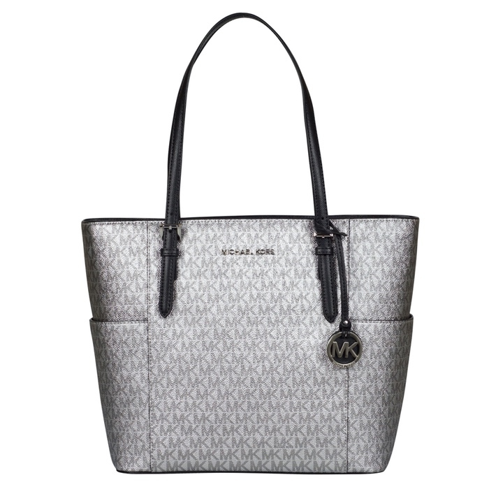 Michael Kors Large Tote in Metallic Silver Black at Luxe Purses
