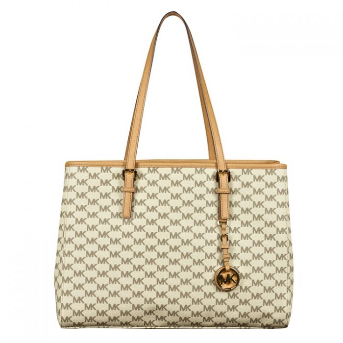 Michael Kors Large Jet Set E/W Travel Tote in Natural Acorn at Luxe Purses