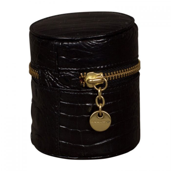 Brahmin Melbourne Round Jewelry Case in Black for sale on Luxe Purses