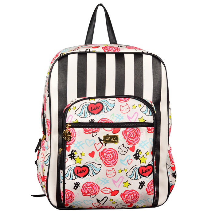 Betsey Johnson Striped Luv Backpack at Luxe Purses