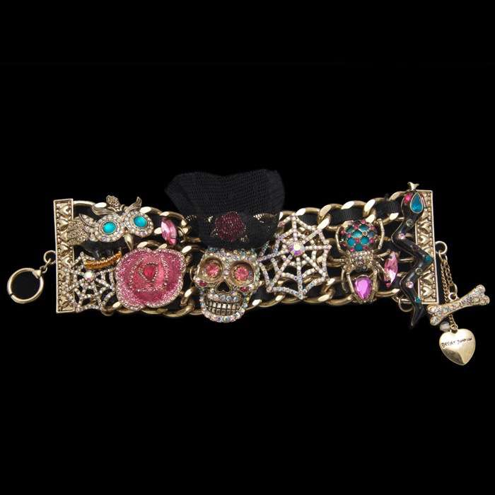 Betsey Johnson Triple Chain Skull Bracelet at Luxe Purses