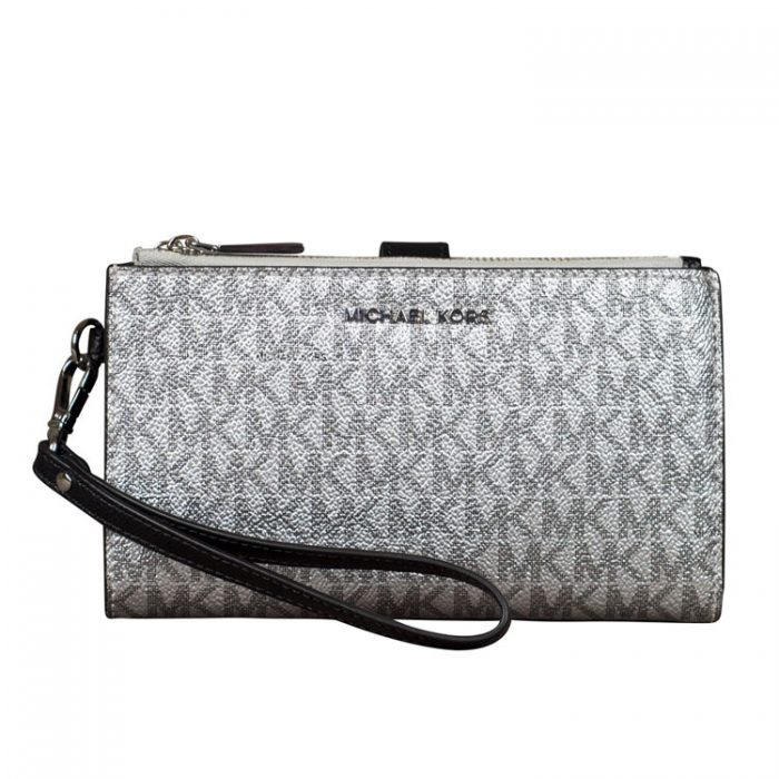 MICHAEL Michael Kors Double Zip Wristlet in Silver at Luxe Purses