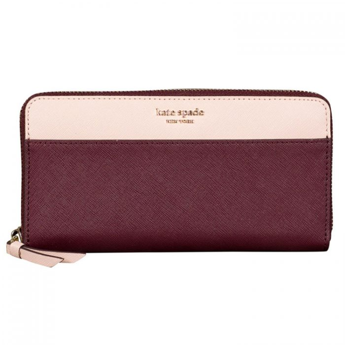 Kate Spade Cameron Continental Wallet in Pink Maroon