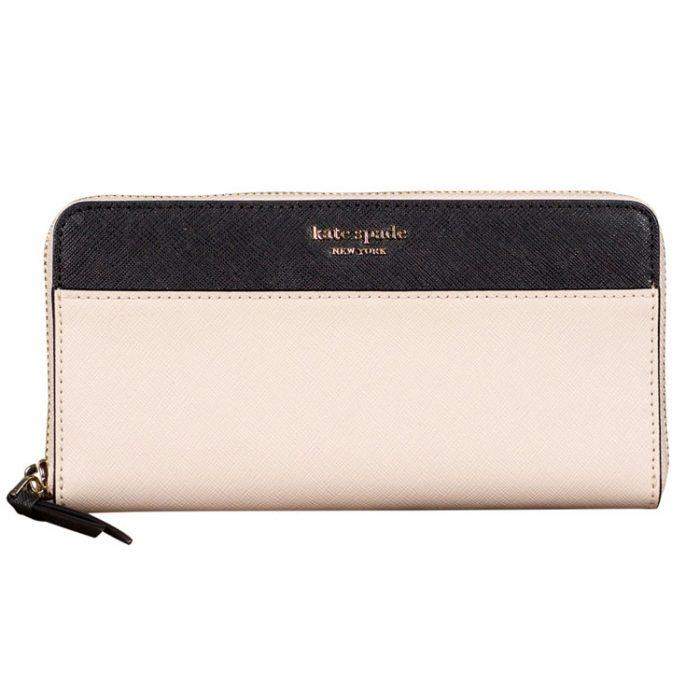 Kate Spade Cameron Continental Wallet in Warm Beige Black