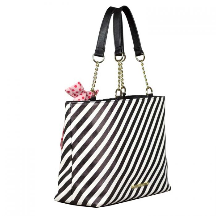 Betsey Johnson Striped Heart Tote at Luxe Purses
