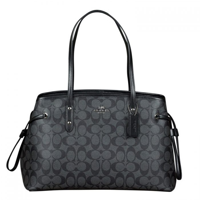 Coach PVC Drawstring Carryall in Black Smoke for sale at Luxe Purses