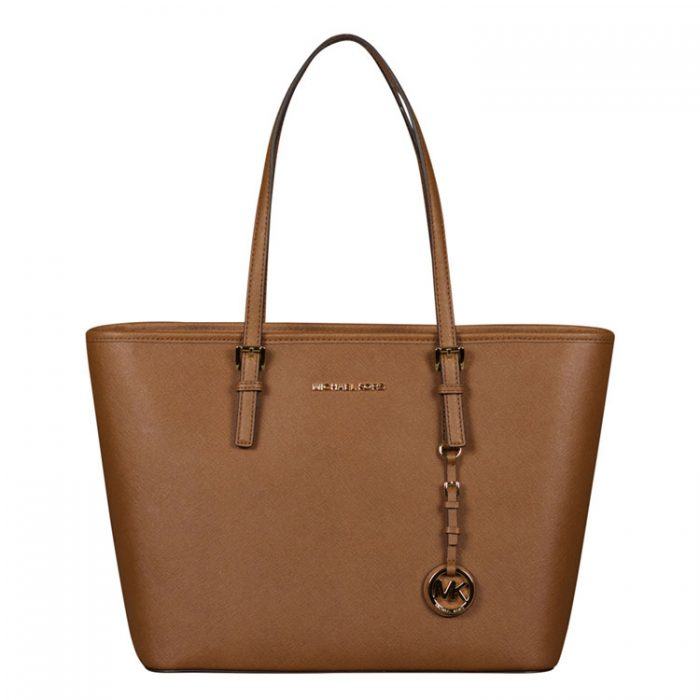 Michael Kors Jet Set Travel Top Zip Tote in Luggage for sale at Luxe Purses