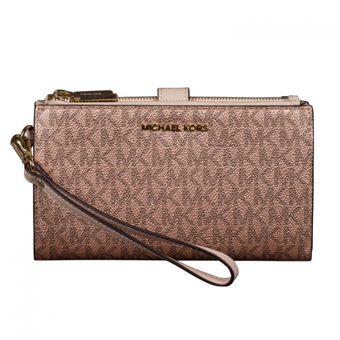 Michael Kors Double Zip Wristlet in Soft Pink Rose Gold for sale at Luxe Purses
