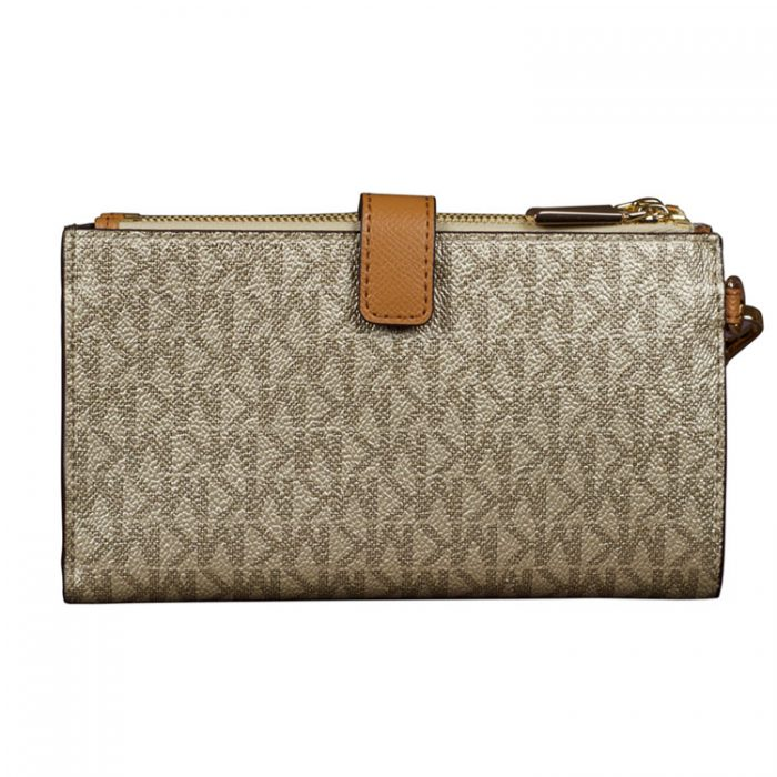 Michael Kors Double Zip Wristlet in Acorn Pale Gold for sale at Luxe Purses