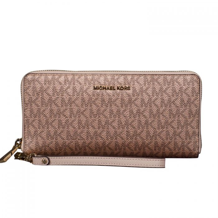 Michael Kors Travel Continental Wallet in Soft Pink Rose Gold for sale at Luxe Purses