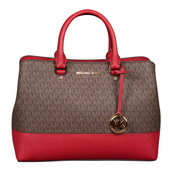 Michael Kors Large Savannah Satchel in Scarlet