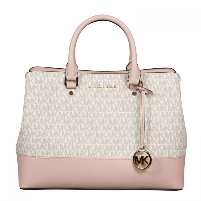 Michael Kors Large Savannah Satchel in Vanilla