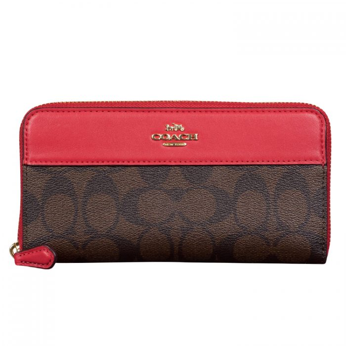 Coach Signature Zip Wallet in Brown True Red