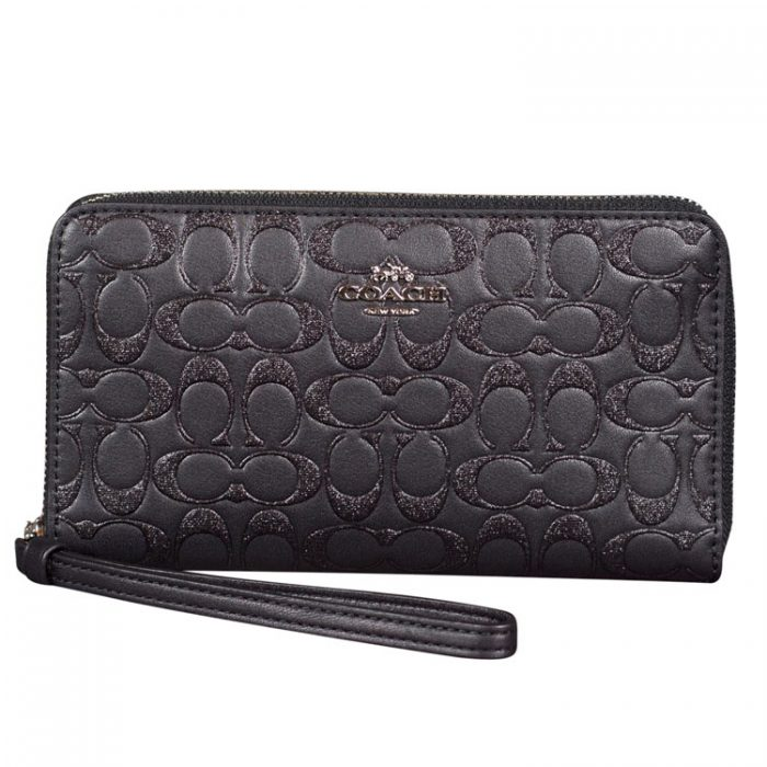 Coach Glitter Signature Leather Phone Wallet