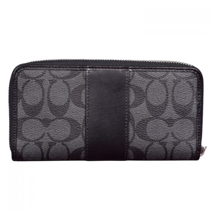 Coach Signature Zip Wallet in Black Smoke for sale at Luxe Purses
