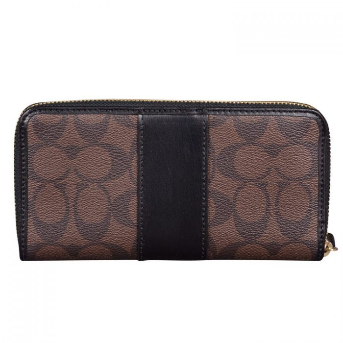 Coach Signature Zip Wallet in Brown Black