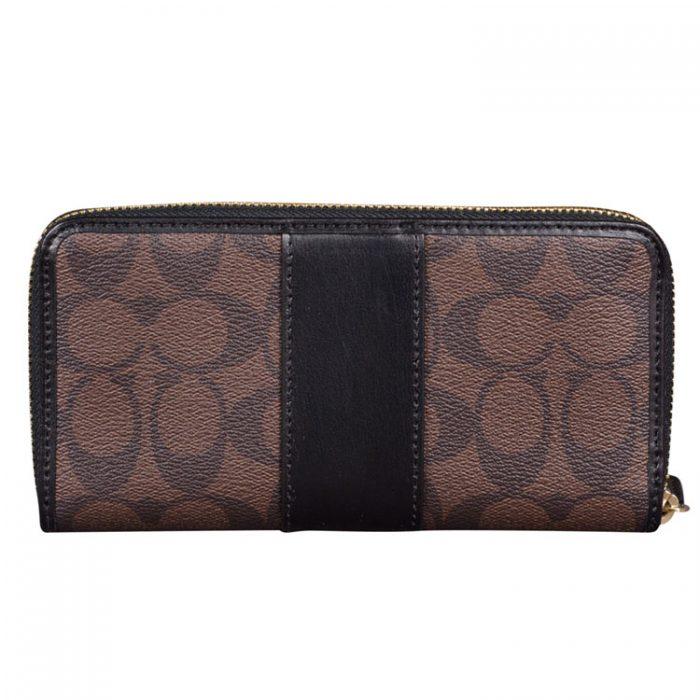 Coach Signature Zip Wallet in Brown Black