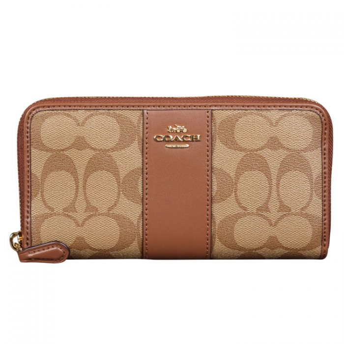 Coach Signature Zip Wallet in Khaki Saddle