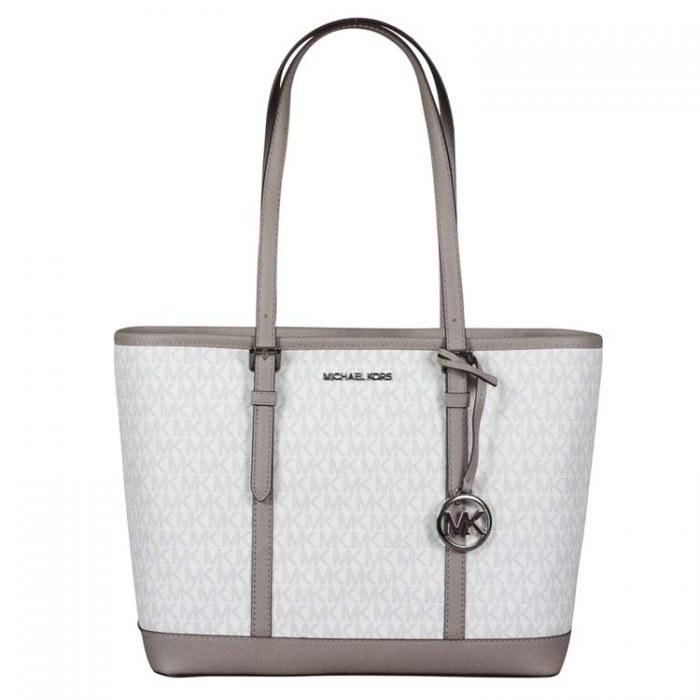 Michael Kors Jet Set Travel Shoulder Tote in Bright White at Luxe Purses