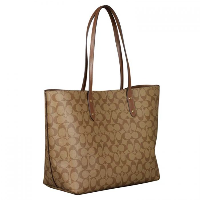Coach Signature Town Tote in Khaki Saddle at Luxe Purses