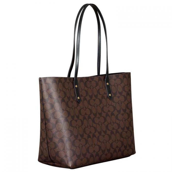 Coach Signature Town Tote in Brown Black at Luxe Purses