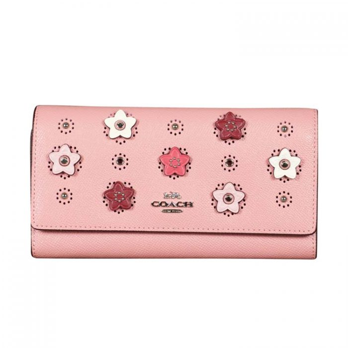 Coach Daisy Applique Trifold Wallet in Light Blush at Luxe Purses