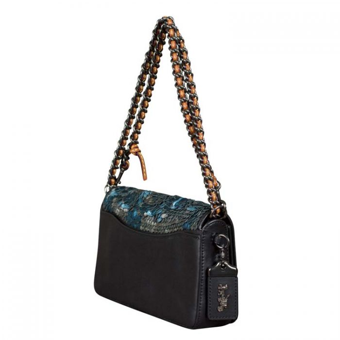 Coach Leather Sequin Dinky Crossbody Bag in Blue at Luxe Purses