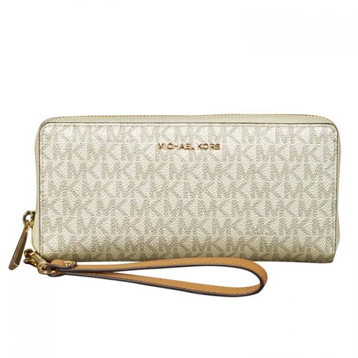 Michael Kors Travel Continental Wallet in Acorn Pale Gold at Luxe Purses